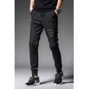 Cool Fashion Three-Stripe Tape Patched Drawstring Waist Mens Sport Black Pants