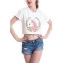 New Fashion Floral Unicorn Printed Round Neck Short Sleeve Cropped White T-Shirt