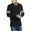 Mens New Trendy Signature Stripe Print Long Sleeve Round Neck Fitted T-Shirt