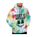 American Music Producer and DJ  Splash-Ink Smile Face Letter KEEP IT MELLO Printed Long Sleeve Casual Pullover Hoodie