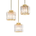 Crystal Pendant Light Kitchen with Hanging Cord, Modern Adjustable Drum Pendant Lights in Black and Gold with Clear Crystal