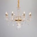 Antique Gold Chandelier with Candle 8 Lights Metal and Clear Crystal Hanging Lights
