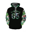 Popular Tropical 65 Forest Letter Printed Long Sleeve Black Loose Fit Unisex Drawstring Hoodie