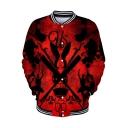 Popular US Horror Film Rabbit Clipper Printed Rib Collar Button Down Red Baseball Jacket