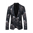 New Trendy Figure Printed Notched Lapel Single Button Long Sleeves Mens Black Suit Blazer