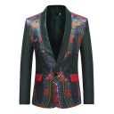 Men's Retro Ethnic Printed Long Sleeve Shawl Collar Single Button Leisure Green Tuxedo Blazer Jacket