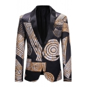 Mens Trendy Abstract Geometry Printed Shawl Collar Single Button Long Sleeve Black Tuxedo Suit