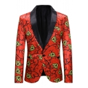 Fancy Floral Printed Shawl Collar Single Button Long Sleeve Red Tuxedo Jacket for Men