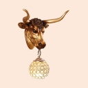 Antique Gold Wall Sconce with Ox 1 Light Clear Crystal Wall Light Fixture for Living Room