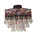 Colorful Crystal Polygon Ceiling Light Single Light Vintage Semi Flush Mount Light for Coffee Shop