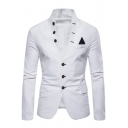Trendy Stand Collar Long Sleeve Button Front Patched Casual Mens Suit Blazer