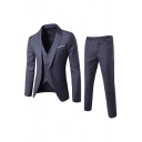 Men's Single Breasted Long Sleeve Notched Lapel Business Casual Three-Piece Suit