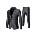 Stylish Notched Lapel Collar Double Button Long Sleeve Mens Grey Business Two-Piece Suit