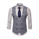 Men's Vintage Slim Fit Double-Breasted Buckle Back Plaid Suit Vest