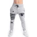 Cool Number 98 Logo Star Striped Print Drawstring Waist Casual Cotton Sport Sweatpants