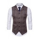 Men's Classic Plaid Pattern Single Breasted Notched Lapel Buckle Back Casual Suit Vest