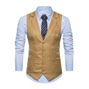 Men's Plain Single Breasted Notched Lapel Belt Back Design Business Suit Vest