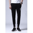 Mens Trendy Cool Letter S Pattern Drawstring Waist Casual Cotton Tapered Pants Sweatpants
