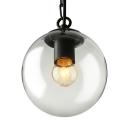 1 Light Globe Pendant Light Modernism Industrial Clear Glass Indoor Lighting Fixture in Black