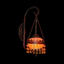 Red and Yellow Crystal Sconce with Globe Single Light Vintage Metal Wall Lamp in Rust for Foyer