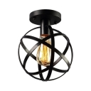 Globe Semi Flush Light for Foyer Single Bulb Metal Ceiling Light in Black