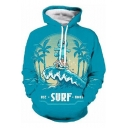 New Stylish Popular Game Comic Figure Surf Wave Print Long Sleeve Blue Hoodie