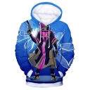New Popular Game Cool Figure Pattern Blue Pullover Drawstring Hoodie