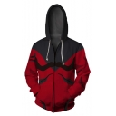 New Trendy Comic Cosplay Costume 3D Pattern Zip Front Long Sleeve Red Loose Fit Hoodie