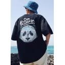Summer Cool Creative Geometric Panda Pattern Loose Fit Oversized T-Shirt