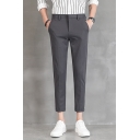 Men's New Stylish Simple Plain Zipper Fly Rolled Cuff Slim Fitted Cropped Dress Pants Suit Pants