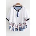 Stylish Cat Claw Printed Tassels Tied Front Half Sleeve Round Hem Relaxed T-Shirt