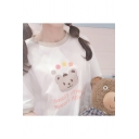 Funny Bear Letter LIFE WITH FLOWER Printed Round Neck Half Sleeve Casual Tee