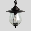 Antique Black Ceiling Pendant Light with Saucer Height Adjustable Single Light Glass Hanging Lamp
