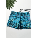 Mens New Fashion Art Graffiti Pattern Blue Elastic Drawstring Waist Quick-Dry Beach Swim Trunks