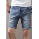 Mens Summer Basic Solid Color Rolled Cuff Slim Fit Light Blue Denim Shorts