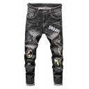 Mens Trendy Camo Spider Web Letter SNOOPY Embroidery Patched Straight Fit Black Ripped Jeans