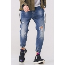 Guys Street Style Letter Rolled Cuff Casual Relaxed Fit Blue Tapered Ripped Jeans