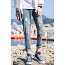 Guys New Trendy Patchwork Slim Fit Ripped Denim Blue Jeans