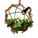 Dining Room Orb Pendant Light Single Light Rustic Hanging Lamp with Leaf Decoration