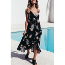 Fashionable V-Neck Floral Printed Spaghetti Straps Asymmetrical Maxi Slip Dress