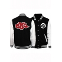 Fashion Red Cloud Print Colorblock Stand Collar Fitted Black Varsity Baseball Jacket