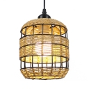 1/3-Light Bucket Hanging Lamp Rustic Style Rope Single Pendant Light for Cafe Bar Restaurant