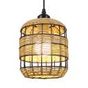 1/3-Light Bucket Hanging Lamp Rustic Style Rope Single Pendant Light for Cafe Bar Restaurant