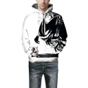 Fashion Skull Printed Long Sleeve Black and White Unisex Sport Casual Hoodie