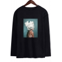 Aesthetics Hot Sale Long Sleeve Round Neck Figure Floral Printed Unisex Loose T-Shirt