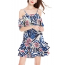 Trendy Tropical Floral Printed Cold Shoulder Spaghetti Straps Ruffle Hem Mini A-Line Dress