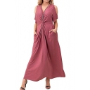 Simple Plain V-Neck Cold Shoulder Kinking Design Maxi A-Line Dress with Pockets