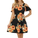Summer Retro Floral Printed Cold Shoulder Short Sleeve Mini A-Line Dress