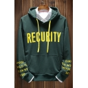 Fashionable Letter RECURITY Printed Long Sleeve Guys Casual Pullover Hoodie