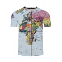 Popular 3D Map Printed Round Neck Short Sleeve Mens Blue Casual T-Shirt